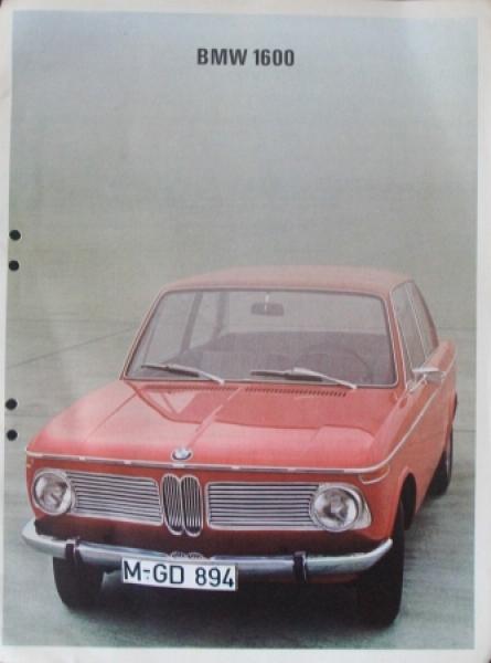 BMW 1600 Modellprogramm 1967 Automobilprospekt