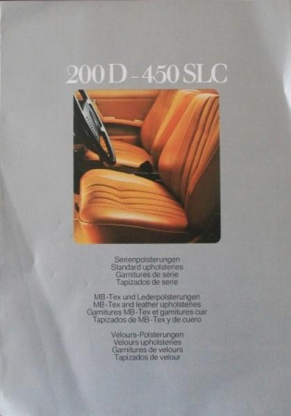 Mercedes Benz 200D - 450 SLC Serienpolsterung 1976 Automobilprospekt