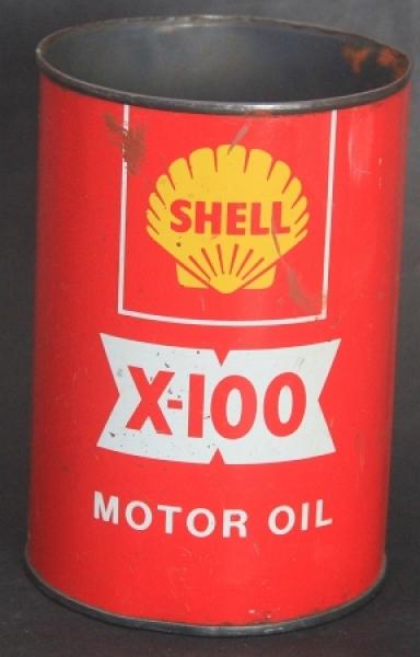 """Shell """"X-100 Motor Oil"""" 1 Liter Oeldose 1955"""