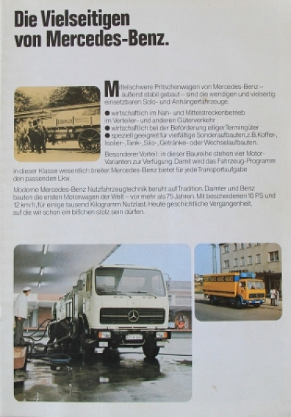 """Mercedes-Benz Pritschenwagen """"Die Vielseitigen"""" Lastwagen-Prospekt 1972"""