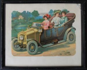 Automobil-Motiv Deko-Glanzbild gerahmt 1929 mit Widmung