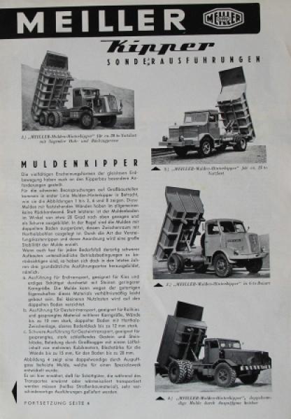 Meiller Kipper Sonderausführungen 1958 Lastwagenprospekt