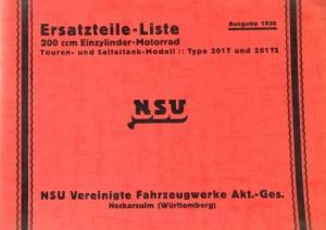 NSU Einzylinder-Motorrad 201 TS Ersatzteil-Liste mit Preisliste 1930