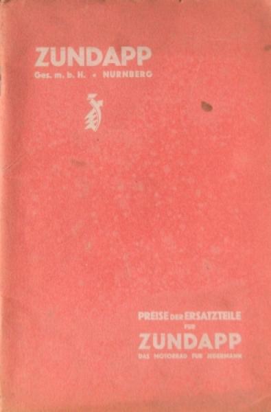 Zündapp Motorrad 4,5 PS Kettenantrieb 1928 Ersatzteilpreisliste