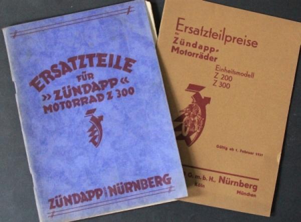 Zündapp Motorrad Z 300 Ersatzteilliste und Preisliste 1931