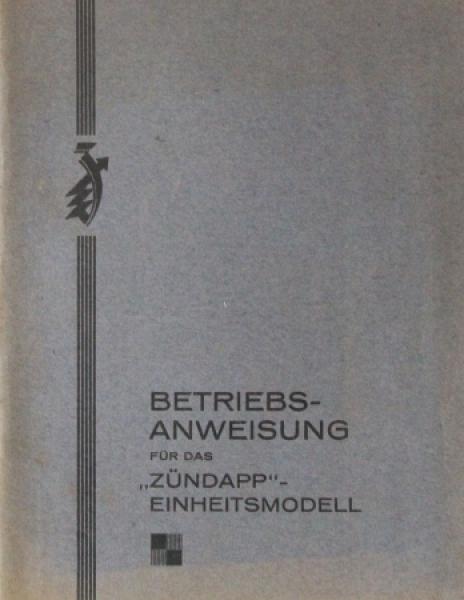 Zündapp Einheitsmodell 1928 Motorrad-Betriebsanleitung