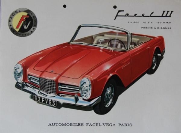 Facel Vega III 10 CV 1963 Automobilprospekt
