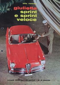 Alfa Romeo Giulietta Sprint Veloce 1960 Automobilprospekt Alfa Romeo Giulietta Sprint Veloce 1960 Automobilprospekt