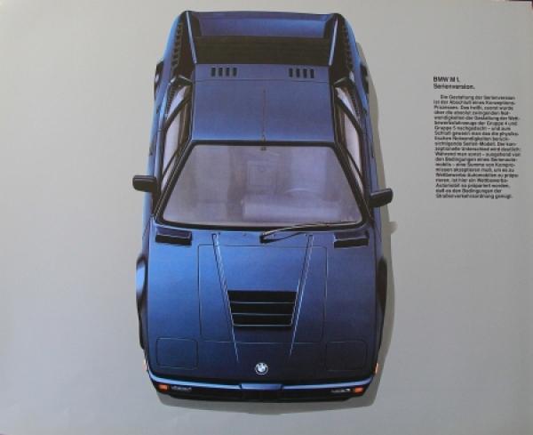 BMW M 1 Modellprogramm 1978 Automobilprospekt 1