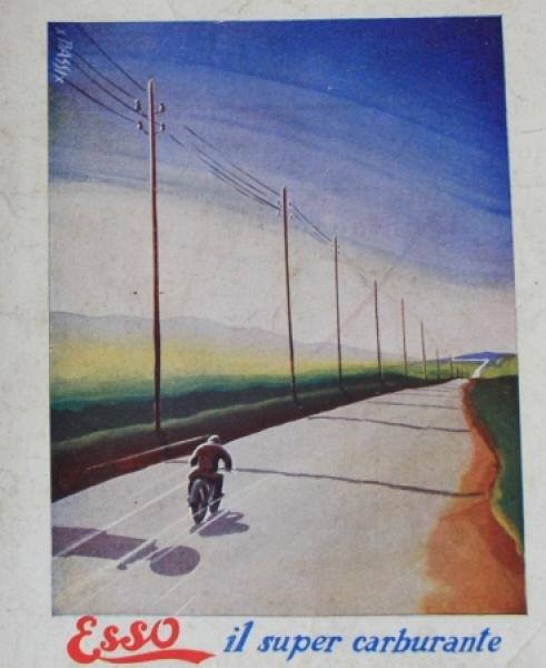 """Esso Werbeplakat """"Il super carburante"""" Motorradmotiv 1930"""