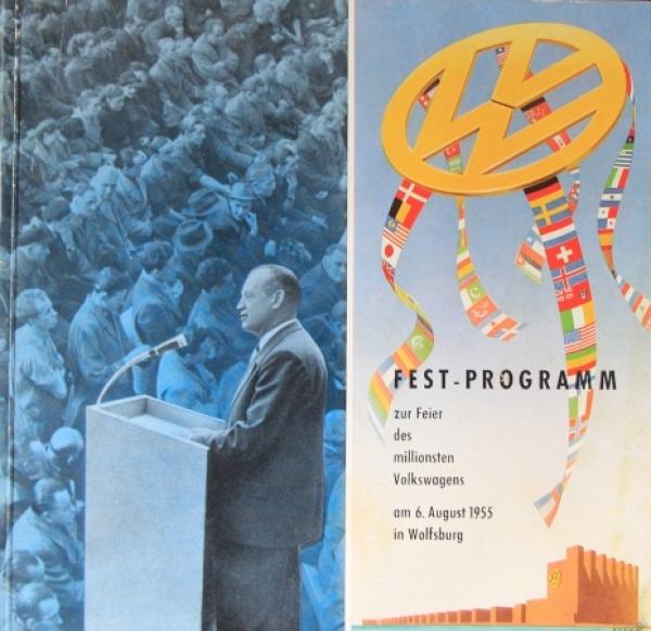 """Volkswagen """"Festprogramm zur Feier des millionsten Volkswagens"""" 1955 VW-Festschrift"""