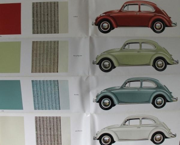 Volkswagen Käfer Limousine Farbkarte 1958 Automobilprospekt 1