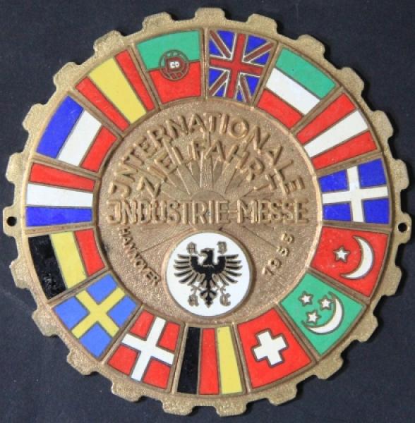 """""""Internationale Zielfahrt Industriemesse Hannover"""" 1955 Messingplakette"""