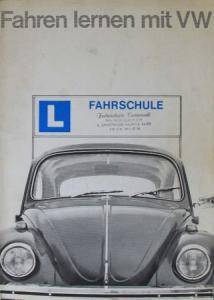 """Volkswagen Käfer """"Fahren lernen mit VW"""" 1967 Automobilprospekt"""