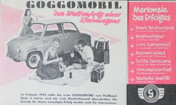 """Goggomobil """"Der Welterfolg eines Kleinwagens"""" 1955 Automobilprospekt"""