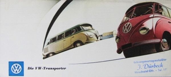 Volkswagen Bus T1 Modellprogramm 1956 Reuters-Zeichnungen Automobilprospekt