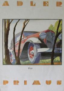 Adler Primus 9 CV Modellprogramm 1933 Reuters-Zeichnungen Automobilprospekt