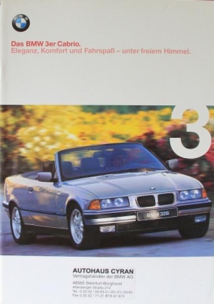 """BMW 3er Cabrio """"Eleganz, Komfort und Fahrspaß"""" 1998 Automobilprospekt"""