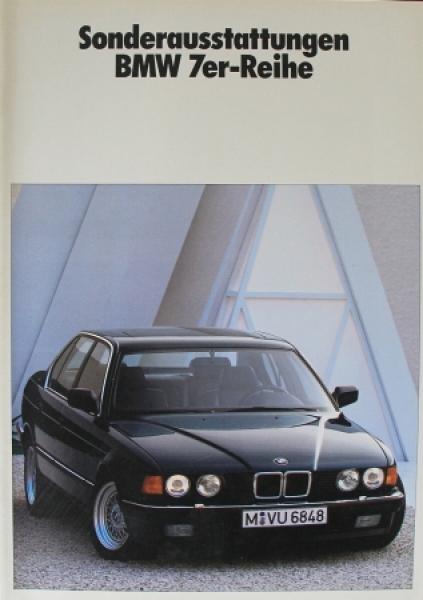 """BMW 7er Reihe """"Sonderausstattungen"""" 1989 Automobilprospekt"""