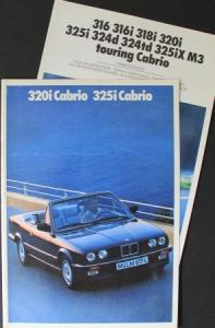 BMW 320i bis 325i Cabrio 1989 + Farben/Polster Automobilprospekt