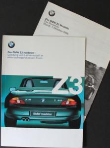 """BMW Z3 Roadster """"Leistung und Leidenschaft"""" 1999 Automobilprospekt + Preisliste"""