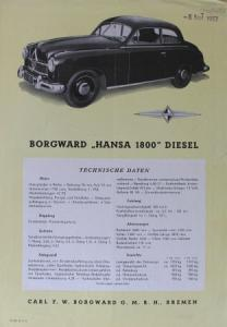 Borgward Hansa 1800 Diesel 1953 Automobilprospekt
