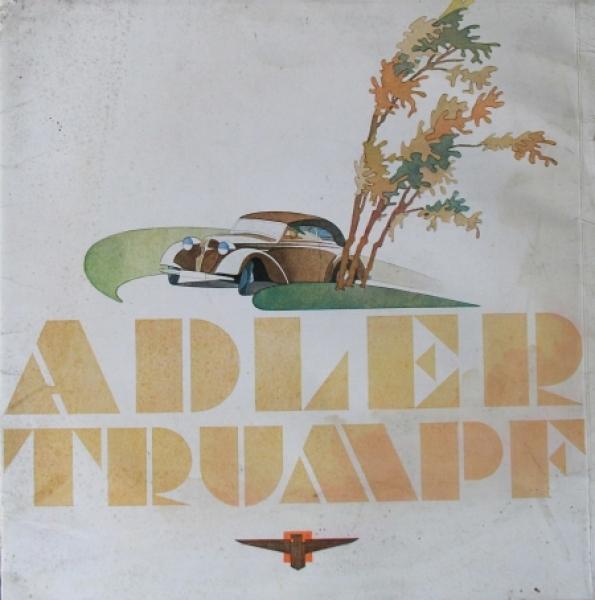 Adler Trumpf Modellprogramm 1935 Reuters Zeichnungen Automobilprospekt