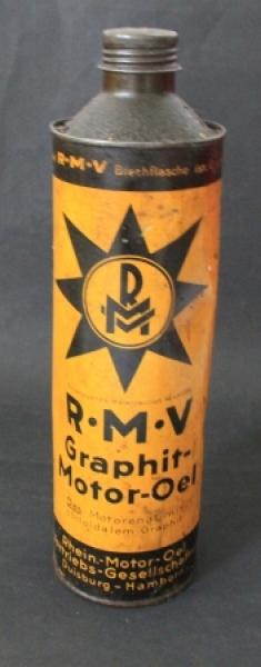 """""""RMV Rhein Motoroel Graphit-Motoroel"""" 1 liter Oelblechdose 1950"""