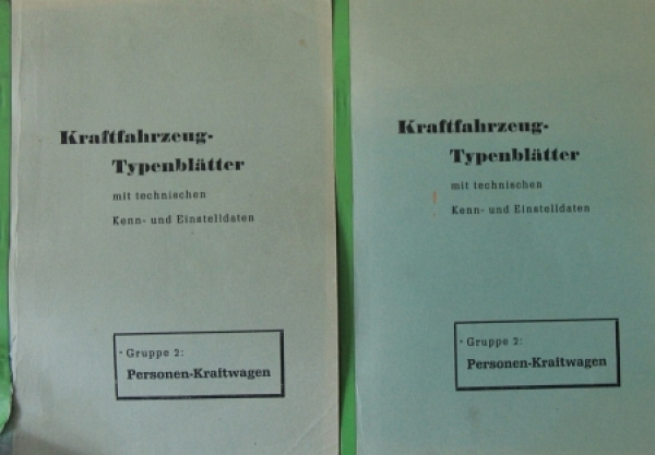 """Kraftfahrzeug-Typenblätter - Personenwagen"" 2 Bände Fahrzeugtechnik 1950"