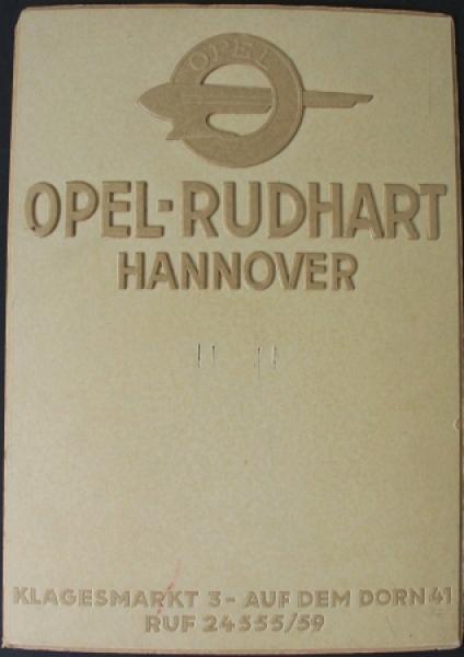 "Opel Werbe-Kalender-Aufhänger ""Opel Rudhardt Hannover"" geprägter Karton 1936"