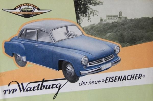 """Wartburg """"Dere neue Eisenacher"""" 1956 Automobilprospekt"""