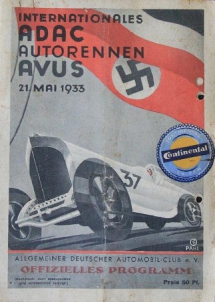 """Internationales ADAC-Avus Autorennen"" Mai 1933 Rennprogramm"