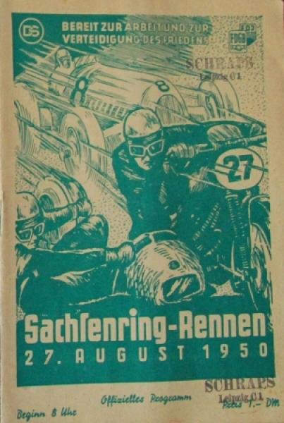 """""""Sachsenring Rennen Hohenstein"""" August 1950 Rennprogramm"""