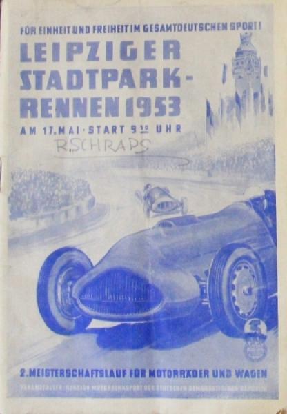 """""""Leipziger Stadtpark-Rennen"""" Mai 1953 Rennprogramm"""