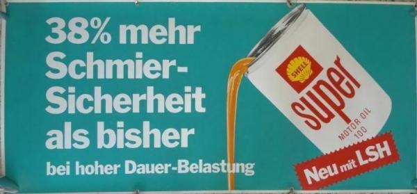 "Shell Werbeplakat ""Super-Motoroil - Glycoshell"" beidseitig bedruckt Kunststoff 1962"
