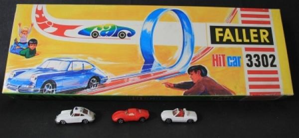 """Faller """"Hit-Car 3302"""" Autorennbahn mit 3 Fahrzeugen in Originalkarton 1970"""