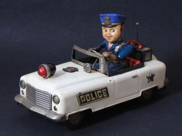 Bandai Police-Car No.3 mit Fahrer 1960 Metallmodell