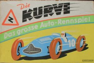 """Abel-Klinger Spiel """"Die Kurve - Das grosse Auto-Rennspiel"""" Motorsport-Brettspiel 1950"""