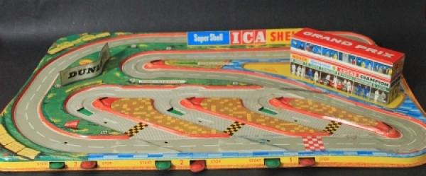 """Technofix """"Grand Prix"""" Blech-Autorennbahn 1962"""