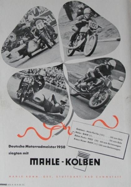 "BMW Motorräder ""Siegen mit Mahle-Kolben"" Motorradprospekt 1950"