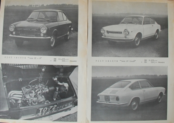 Abarth Fiat 1000 OT Coupe 1969 Automobilprospekt