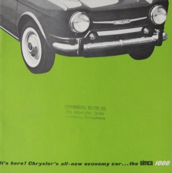 Simca 1000 Modellprogramm 1963 Automobilprospekt