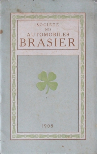 Brasier Automobiles Modellprogramm 1908 Automobilprospekt