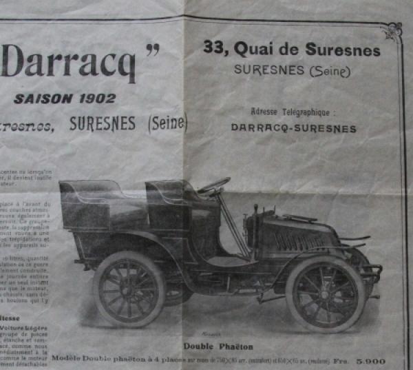 Darracq Voiture Legere 1902 Automobilprospekt