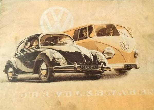 Volkswagen Modellprogramm 1951 Reuters-Zeichnungen Automobilprospekt