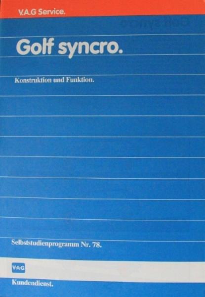 """Volkswagen Golf Syncro """"Konstruktion und Funktion"""" VW-Selbstudienprogramm 1986"""