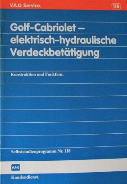 """Volkswagen Golf Cabriolet """"Elektrisch hydraulische Verdeckbetätigung"""" VW-Sebstudienprogramm 1989"""