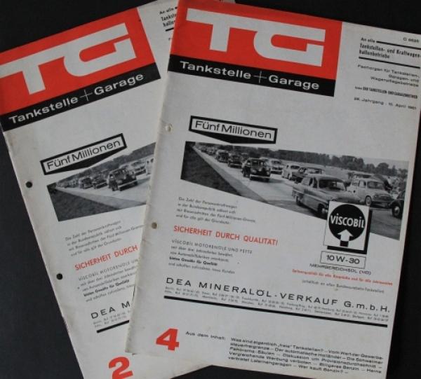 """""""TG Tankstelle + Garage"""" Tankstellen-Magazin 2 Ausgaben 1961"""