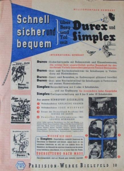 """Durex Rennaben """"Schnell, sicher und bequem über Berg und Tal"""" 1950 Zubehörprospekt kompletter Block"""