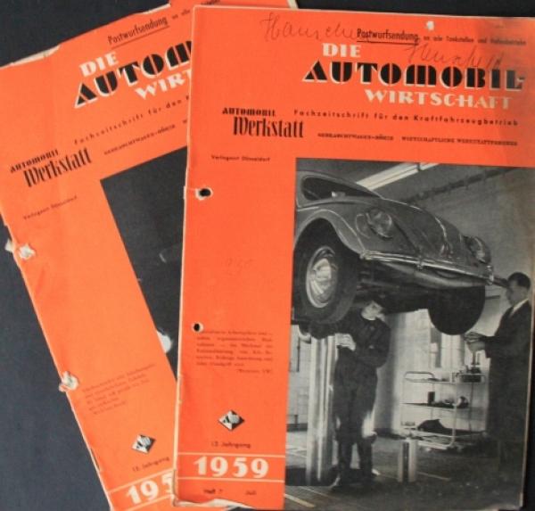 """""""Die Automobil-Wirtschaft"""" Kraftfahrzeug-Magazin 1959 zwei Ausgaben"""